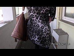 English blonde fucks fake cop in her flat
