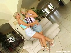 Sperm Swap Hot blondes share hot studs cock and...