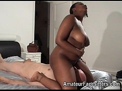 Thick ebony lady facesits an older man
