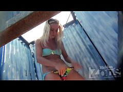 Tanned blonde teen changing at the beach - See more at UnrealCams.Net