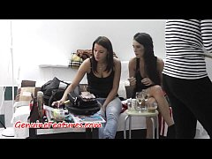 Lovely teens tease and dance in backstage