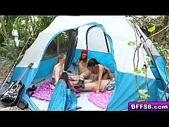 College babes hot camping outdoor fucking