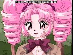 Pink-haired hentai teen masturbating