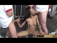 Ebony whore rides cocks and swallows sperm 19