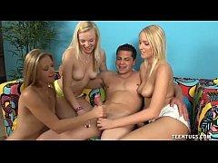 Three Horny Teens Jerk Off A Naked Guy