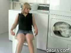 Latin upskirt in the laundry room