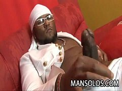 Horny ebony stud jay brown stroking his dick on the couch