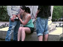 Young cute teen girl fucked in threesome on pub...