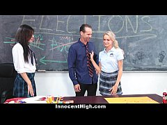 InnocentHigh - Angry School Girls 3some with Te...