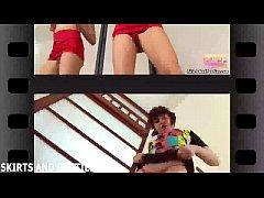 Petite teen Lara flashing her pretty pink panties