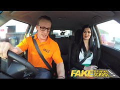 Fake Driving School Male Learner fucking his fe...