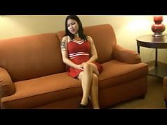 Asian cheerleader pees her panties