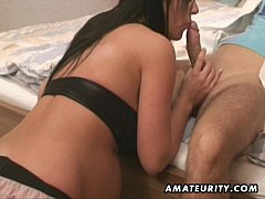 Pregnant amateur girl sucks and fucks and swallows