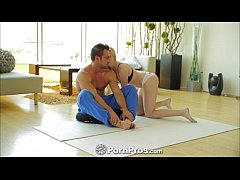 PornPros Fair skinned blonde fucks on yoga mat
