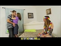 Mom, Daughter And Boyfrend Threesome