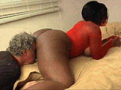 Ebony Kelly Starr makes old man smell lick eat ...