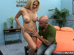 Blonde wife sucks big cock into her mouth and p...