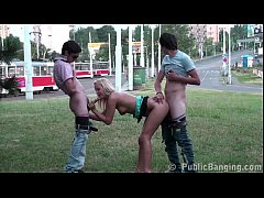 Cute blonde teen girl PUBLIC street gangbang th...