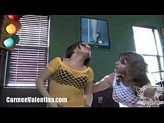 Young Carmen Valentina rides mature MILF's Sybian
