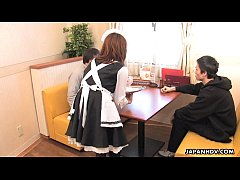 Asian waitress fucking her customers in a hot t...