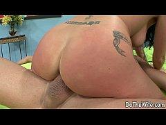 Super hot brunette wife takes big cock
