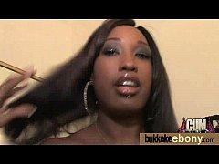 Gorgeous ebony lady sucks white dicks and gangb...