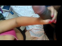 Desi girl friend hand job her Bf's long dick wi...