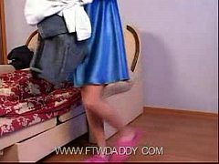 Petite Young Skinny Daughter Trying Dress Of Mo...