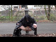 Gothic exhibitionist Fayth Corbin flashes and masturbates in public with amateur