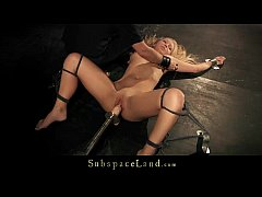 Liana is drilled with fuck machine till climax