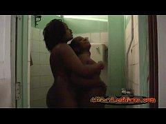 Busty ebony lesbians having hot shower together