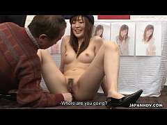 Asian bitch getting her wet pussy painted on