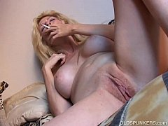 Super sexy old spunker has a smoke and plays wi...