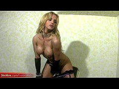 Bigtitted blonde shemale gets her bigtits messy...