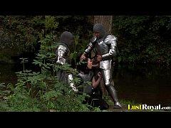 Fearless warrior Petra Stingrey pleasures two c...