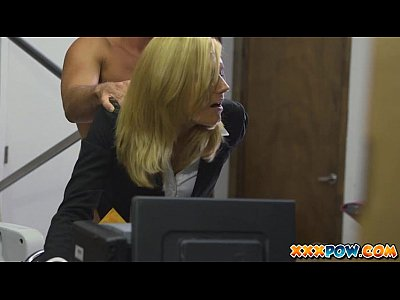 Blowjob Facial Milf video: Blonde milf becomes a prostitute in a pawn shop