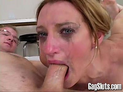 Gag cum throat fucking