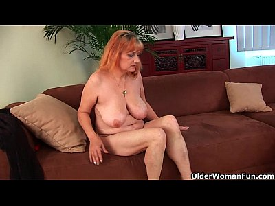 Milf Redhead Mature video: Hairy grandma Gunda with her big tits has solo sex