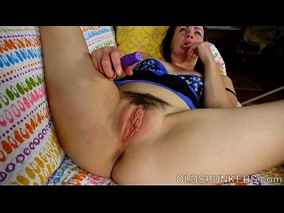 Super cute slim older spunker loves to play with her bushy pussy