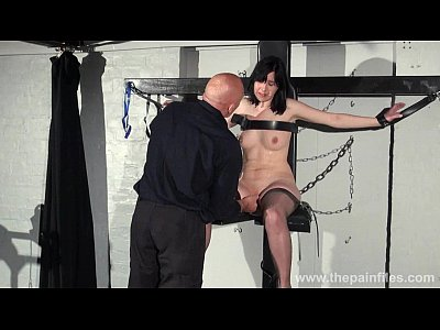 Bdsm Brunette Cabellero video: Feet whipping and bastinado of tied Honesty Cabellero in foot spanking and dunge