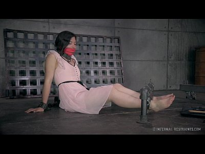 Dildo Vibrator Orgasm video: Petite Brunette in Metal Bondage