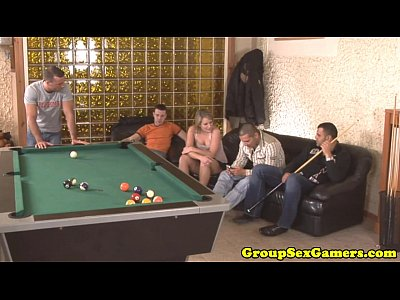 Facialized amateur in gangbang tugging