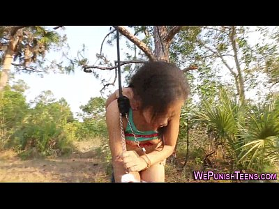 Bdsm Bondage Bound video: Bdsm ebony bang in forest