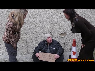 Cfnm Cocksucking Euro video: Femdom Brooklyn Blue bj for homeless man
