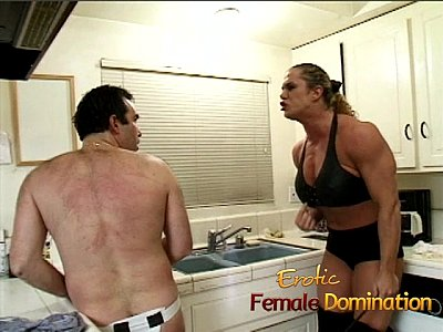 Femdom Spanking Kitchen video: Angry dominatrix with big muscles hurts her husband really bad-6
