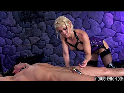 Latex Handjob Bondage video: Ash Hollywood and Lance Hart FEMDOM CBT FUCKING CASTRATION