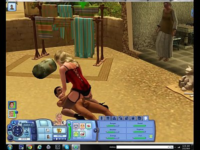 Sims video: Kitten gets fucked in public