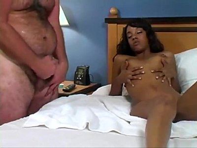 Encouragement Handjob Interracial video: Ebony beauty teases fat guy