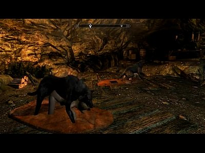 Wolf Skyrim Mod vid: Two sleeping adventurers vs two horny wolfs