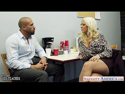 Stockings Lingerie Blonde video: Hot sex teacher Alura Jenson fucking a large shaft
